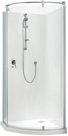 Englefield Ario Acrylic Angle Round Shower Curve front shower, chrome frame, includes tray and liner. http://www.plumbin.co.nz/shop/showers/ario_acrylic_angle.html