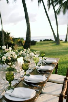 Dark wood tables with white and green accents | Anna Kim Photography