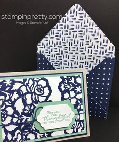 Stampin Up Floral Phrases Thinlits Die Thank You Card & Envelope - Mary Fish…