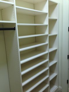 Closet Creations built this White Closet with lots of shoes! White Closet, Bookcase, Shelves, Home Decor, Beauty, White Cabinet, Shelving, Decoration Home, Room Decor
