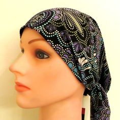 Black patterned stretchy pre tied tichel, $13.50