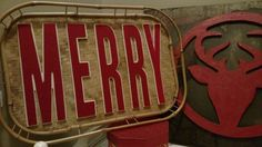 Merry!   Created a sign from a bamboo serving tray and felt covered chipwood letters.