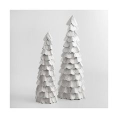 Cost Plus World Market White Glitter Paper Trees ($9.99) ❤ liked on Polyvore featuring home, home decor, holiday decorations, cost plus world market, holiday decor, handmade home decor and holiday centerpieces