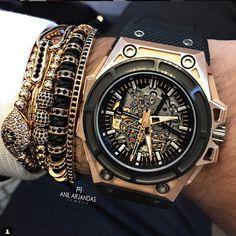 Men Bracelets 24K Gold Plated Round Beads & 8mm Micro Pave Black CZ Beads…