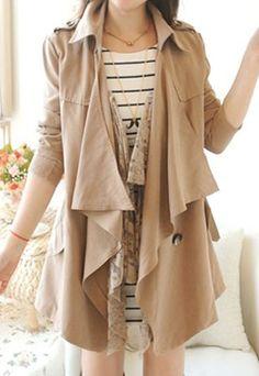 $39.99 [grzxy6600388]British Elegant Lapel Lace Spliced Pure Color coat | cheershop - Clothing on ArtFire