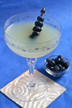 Blueberry Meyer Lemon Drop with vodka, limoncello, blueberries, vanilla sugar and the juice of a Meyer lemon.