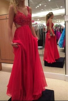 Spaghetti Strap Lace Bodice Prom Dress,Chiffon Backless Prom Dress With Beading,Sexy Red Long Formal Gown 2017,Sleeveless A-line Prom Gowns