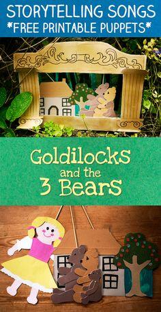 Storytelling Songs : Goldilocks and the Three Bears Puppet Show - Let's Play Music Bears Preschool, Preschool Music, Music Activities, Preschool Activities, Summarizing Activities, Narrativa Digital, Lets Play Music, Fairy Tales Unit, Fairy Tale Theme