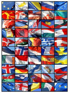 Flags of the 47 member states of the Council of Europe