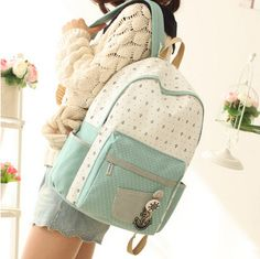 Korean fashion students navy canvas backpack