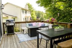 Great ideas and inspiration for decorating and maximizing space on a small deck deck tour small deck decorating summer deck decor Deck Seating, Deck Table, Patio Bar, Backyard Patio, Outdoor Patios, Wood Patio, Seating Areas, Outdoor Rooms, Small Deck Decorating Ideas
