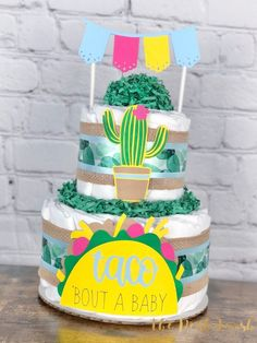 Taco Fiesta Diaper Cake, Baby Shower Centerpiece Decor Gift, Taco 'Bout a Baby Fiesta Cactus Gender Neutral Mexican Taco Bar Party, 2 tier Baby Shower Decorations For Boys, Baby Shower Centerpieces, Unique Baby Shower Themes, Baby Shower Diapers, Baby Shower Cakes, Shower Baby, Girl Shower, Baby Showers, Taco Bar Party