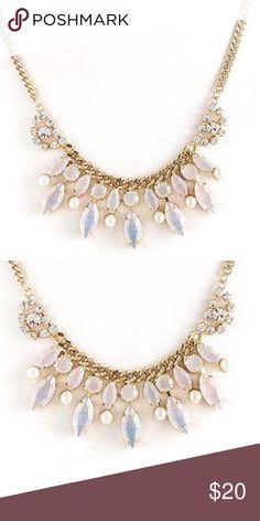 """Holiday White Opalescent Statement Necklace, NWT This beautiful and delicate statement necklace is the perfect piece if you just need a little something extra to add some drama and sparkle to your look. Careful to keep this necklace understated, our designer has selected opaque frosted white iridescent crystals and edged a couple with white pearls. The metal is a polished gold metal finish with small clear crystal joining the center piece.   16""""- 18""""   Austrian Crystals   Gold Plated   Gift…"""