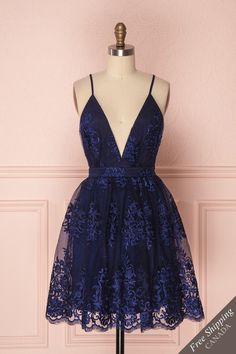 Navy Blue Deep V Neck Lace Spaghetti Straps Homecoming Dresses Short Prom Dresses SRS, This dress could be custom made, there are no extra cost to do custom size and color. Navy Blue Deep V Neck Lace Spaghetti Straps Homecoming Dresses Short Prom Dresses Hoco Dresses, Dance Dresses, Pretty Dresses, Sexy Dresses, Evening Dresses, Dresses For Work, Elegant Dresses, Summer Dresses, Wedding Dresses