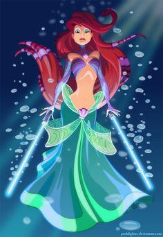 Little Mermaid Jedi lightsaber Star Wars Disney Princess