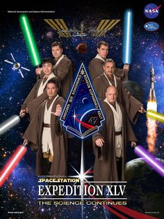 The official crew poster for the International Space Station's 45th expedition pays tribute to Star Wars.