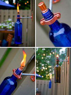 Recycled Wine Bottle Torch http://www.handimania.com/diy/recycled-wine-bottle-torch.html