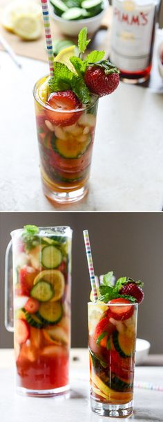 Strawberry Pimm's Cup - the perfect summer cocktail! I howsweeteats.com
