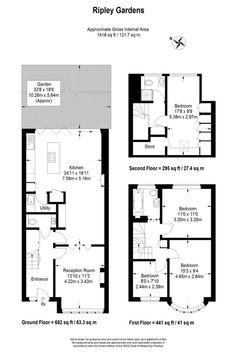 Floorplan Winkworth - Barnes present this 4 bedroom house in Ripley Gardens, Mortlake, London, Kitchen Extension Floor Plan, 1930s House Extension, House Extension Plans, House Extension Design, Rear Extension, Kitchen Floor Plans, House Floor Plans, Extension Ideas, Wraparound Extension