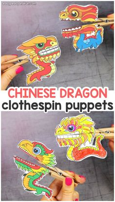Chinese Dragon Clothespin Puppets - Easy Peasy and Fun Printable Chinese Dragon Clothespin Puppets - Chinese new year crafts for kids Chinese New Year Crafts For Kids, Chinese New Year Dragon, Chinese New Year Activities, Chinese Crafts, New Years Activities, Art For Kids, Activities For Kids, Chinese Year Of The, China For Kids