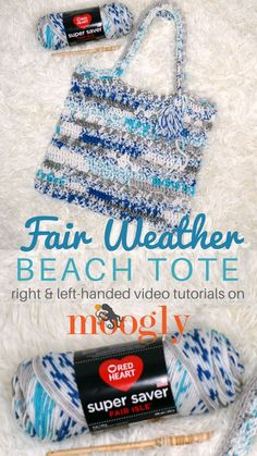 Fair Weather Beach Tote PInterest Image: blue and white tote bag laying on a fur background
