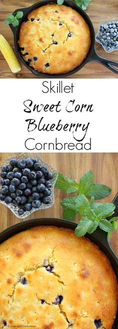 Skillet Sweet Corn Blueberry Cornbread from LoveandConfections.com