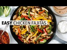 Chicken fajitas are an easy and flavorful weeknight meal. A classic Mexican recipe, juicy chicken is seasoned, seared and cooked to perfection, then tossed with sauteed bell peppers and onions. Easy Chicken Fajita Recipe, Chicken Fajita Rezept, Easy Chicken Fajitas, Homemade Fajita Seasoning, Homemade Seasonings, Healthy Chicken Recipes, Mexican Food Recipes, Cooking Recipes, Mango Margarita