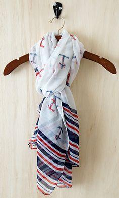 nautical scarf - gotta have! Cute Fashion, Fashion Beauty, Womens Fashion, Nautical Fashion, Nautical Style, Nautical Anchor, Nautical Theme, Anchor Scarf, Playing Dress Up