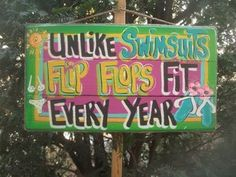 UNLIKE SWIMSUITS FLIP FLOPS TROPICAL TIKI HUT BAR POOL BEACH PATIO SIGN PLAQUE