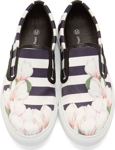 Mother of Pearl - White & Navy Achilles Slip-On Sneakers