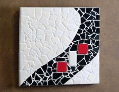 Mosaic ArtBlack White and Red by tilechick on Etsy, $120.00