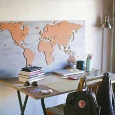 DIY World map wall art that is easy to make and unique | ~Crafty ...