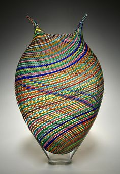 Multicolored Foglio: David Patchen: Art Glass Vessel -