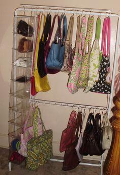 Another view - purse bag organization Backpack Storage, Handbag Storage, Creative Storage, Diy Storage, Storage Ideas, Kids Room Organization, Purse Organization, Organizing Purses In Closet, Ikea Expedit Shelf