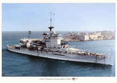 HMS Warspite enters Malta Grand Harbour during the Spanish Civil War, Naval History, Military History, Bateau Pirate, Capital Ship, Military Photos, Navy Ships, Aircraft Carrier, Royal Navy, Water Crafts