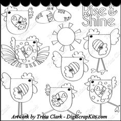 Rise & Shine 1 B/W Clip Art : Digital Scrapbook Kits, Cute Clip Art, Cutting Files, Trina Clark, Instant downloads, commercial use allowed, great prices.