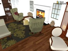 Do you have a fireplace in your home? If not, would you like one?   Built-in & stand-alone fireplaces available in RoomSketcher: http://planner.roomsketcher.com/?ctxt=rs_com  3D floorplan for living room with fireplace and olive decor designed in RoomSketcher by Decor Interiors & more   #floorplans #fireplaces #livingrooms