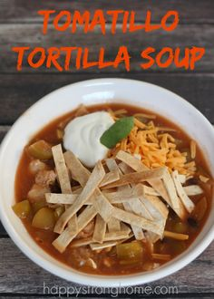 Easy Tortilla Soup Recipe is perfect for using up freezer veggies (tomatillos are awesome but the soup is going to be great if you don't have them!) - it's a quick and delicious soup for dinner or lunch! Chili Recipes, Soup Recipes, Dairy Free Soup, Tortilla Soup, Soup And Salad, Side Dish Recipes, Soups And Stews, Casserole Recipes, Cookies Et Biscuits
