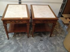 2-Matching-Vintage-Mid-Century-Mersman-End-Tables-Furniture-Faux-Marble-Wood