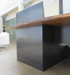 Custom Made Metal – Modern / Industrial Plate Steel Reception Desk With Maple Live Edge Slab Top
