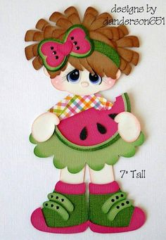 Girl with Watermelon Paper Piecing PreMade 4 Borders Scrapbooks Albums Foam Crafts, Diy And Crafts, Crafts For Kids, Arts And Crafts, Paper Crafts, Baby Scrapbook, Scrapbook Paper, Cartoon Clip, Paper Piecing Patterns