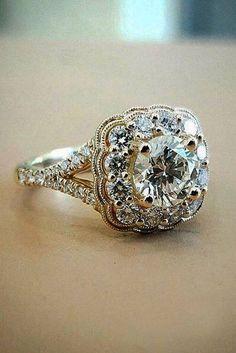 Beautiful Wedding Rings, Wedding Rings Vintage, Vintage Engagement Rings, Vintage Rings, Diamond Engagement Rings, Wedding Jewelry, Vintage Jewelry, Halo Engagement, Vintage Silver