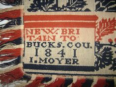Bucks County, PA Jacquard Coverlet, Dated 1841, woven by I. Moyer