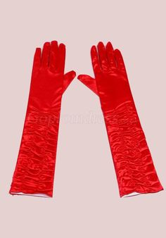 charming prom Red Satin Gloves with shirring picture 1