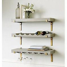 Find your new bar cart with Ballard Style! Shop online - Best quality designer furniture and furnishings for your stylish home décor. Search Ballard furniture online to buy the bar cart, furniture, and décor you love! Furniture, Shelves, Interior, Diy Home Bar, Wine Bottle Shelf, Home Decor, Bars For Home, Wine Glass Shelf, Bathroom Decor