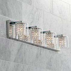 Possini euro design crystal strand 25 34 wide bath light bath possini euro coco 4 light 28 12w clear crystal bath light style 1h661 mozeypictures Gallery