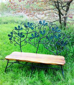 Oak leaf bench (2010)  Galvanized wrought iron and oak