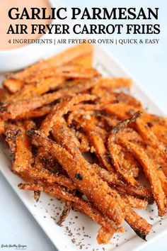 With half the calories of sweet potatoes, carrots are perfect for low calorie fries. This recipe makes extra crispy air fried carrot fries coated in garlic infused olive oil and a blend of parmesan and crushed peppers (optional for spice lovers). Recipe makes two 120-calorie servings!
