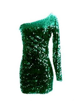 Hunter Green Sequin One Sleeve Sparkle Glitter Party Dress,  Dress, Sequin long sleeve dress  sequence dress, Chic