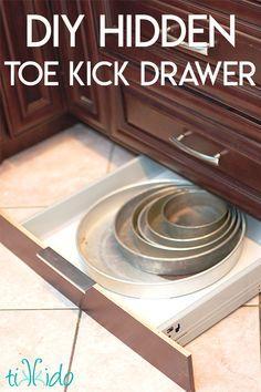 11 Sneaky Storage Tricks for a Tiny Kitchen, toe kick drawer, a' la Ikea Kitchen Island Storage, Small Kitchen Storage, Kitchen Cabinet Storage, Kitchen Redo, Storage Cabinets, Kitchen Organization, New Kitchen, Kitchen Design, Extra Storage